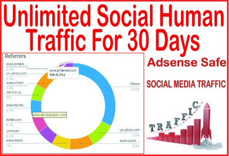 Get 30 days of Human traffic from social & organi...