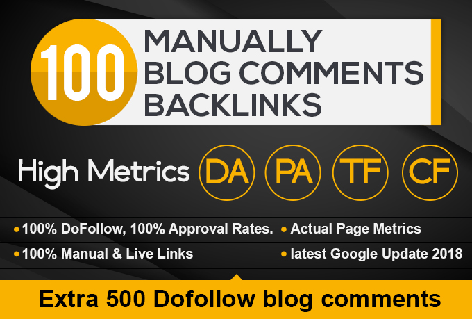 i will 100 blogcomments backlinks page rank PR7 to 2 backlinks