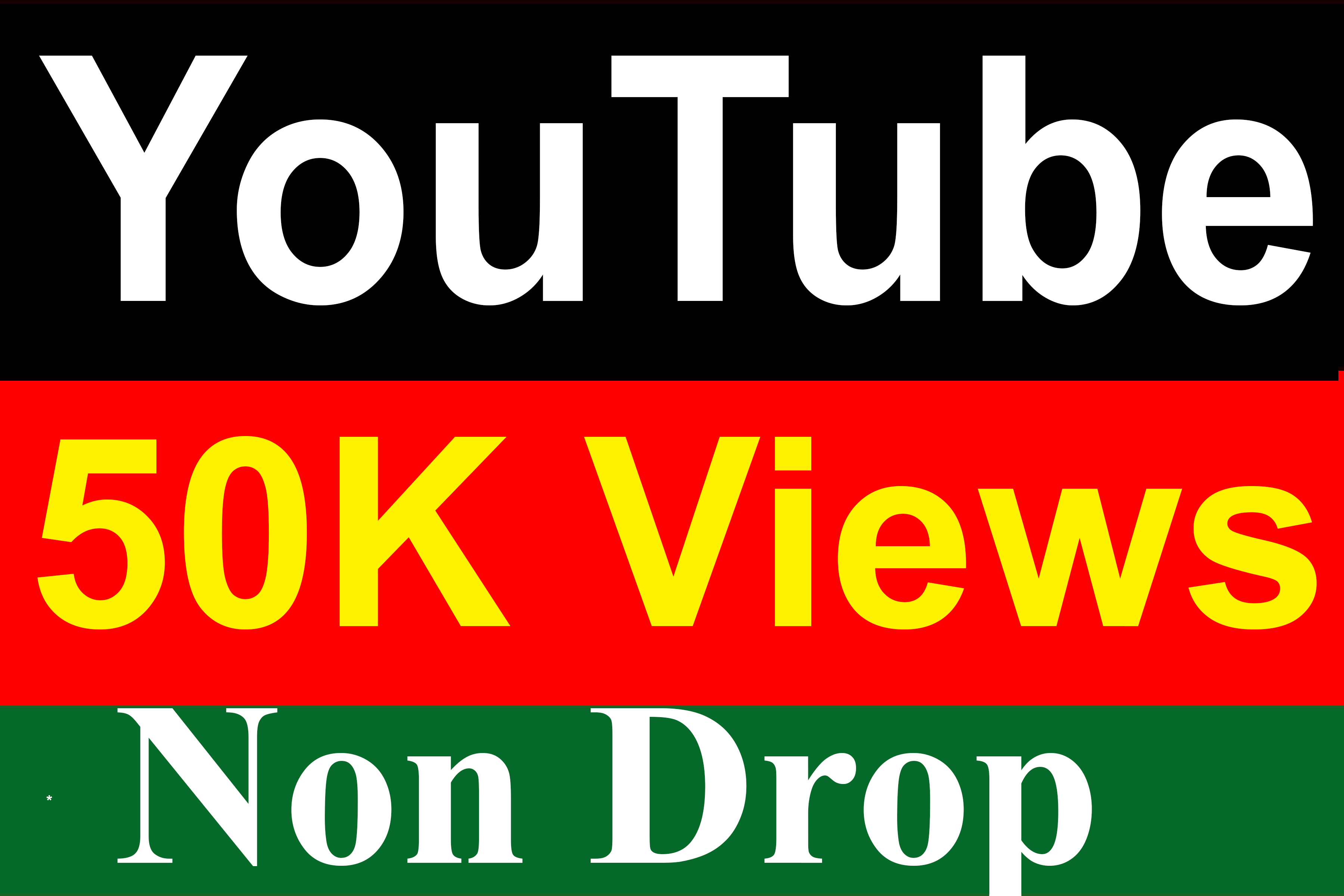 50000 / 50K YouTube Vie ws Non Drop High Quality Fully Safe Instant Start