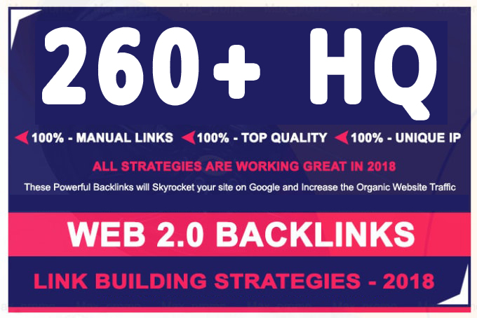 I will do 260 web 2.0 backlink for your website