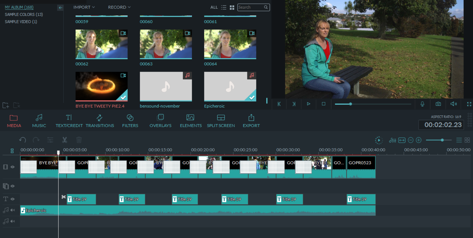 Edit you video files into a film with music,  open and close credits and optional voice over