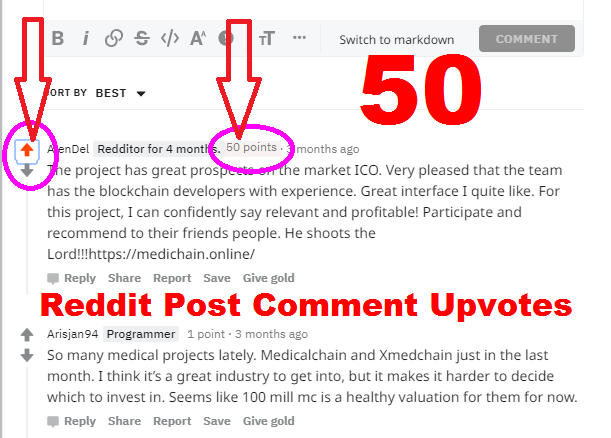 50 Reddit Post Comment Upvotes karma Your or Links or Articles