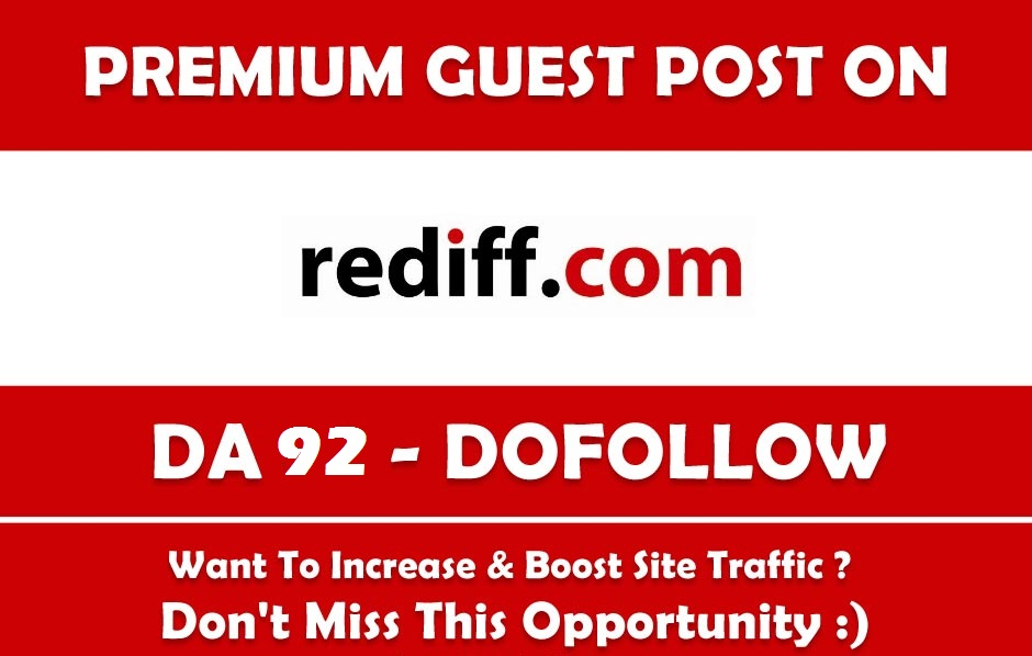Guest Post on Blogs. rediff. com - DA 92