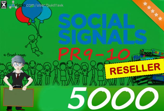 5000 SEO PR9 Social Share Signals Traffic