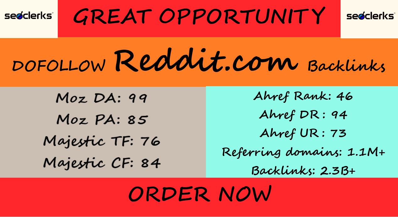 DOFOLLOW backlinks from REDDIT DA 99 PA 85