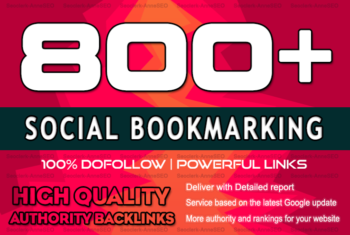800 Social Bookmarking Backlinks which will ultimately lead to an increase in your Google Rankings
