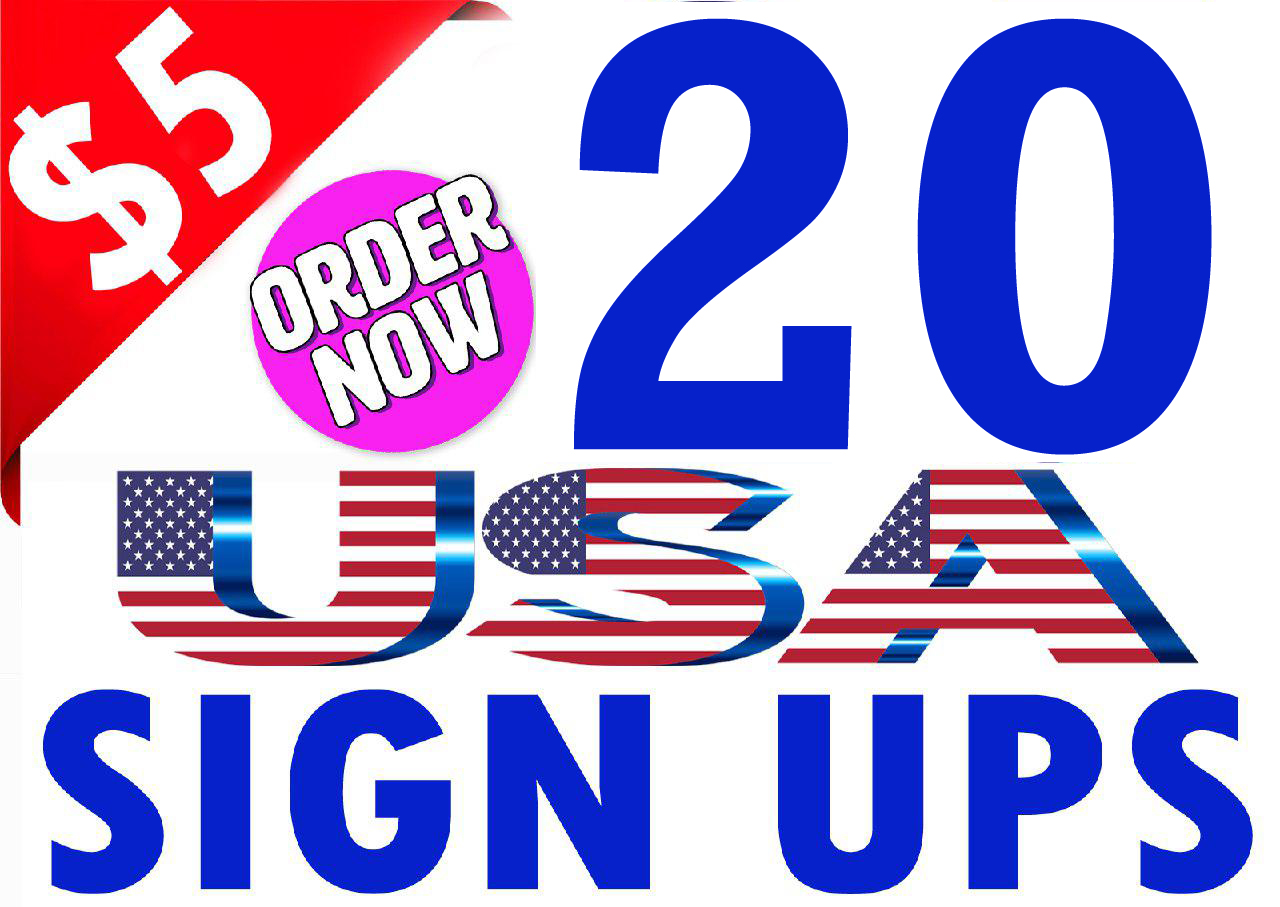 Buy 20 Unique Sign Ups from USA