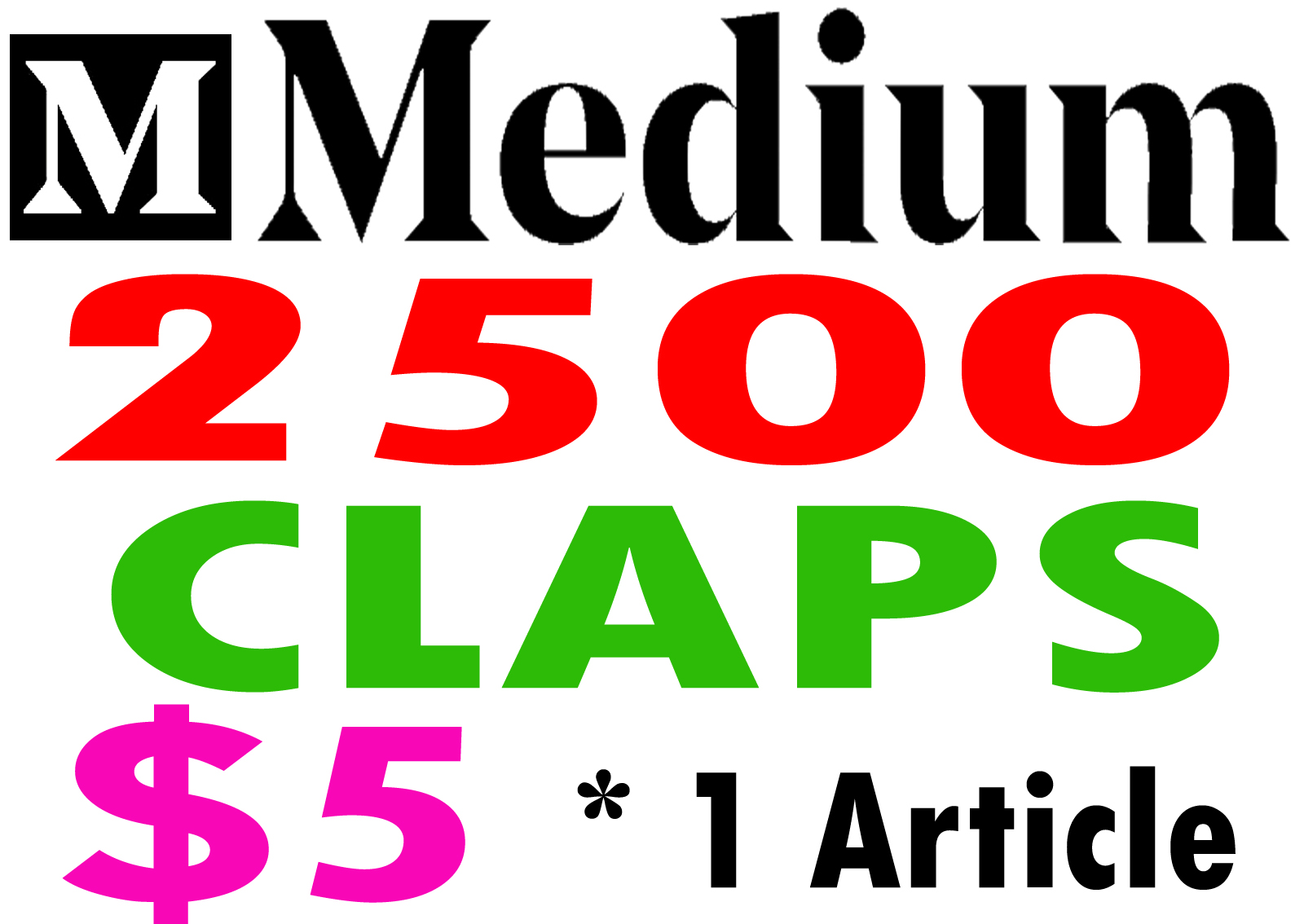 Buy 2500 Medium Claps for 1 Article