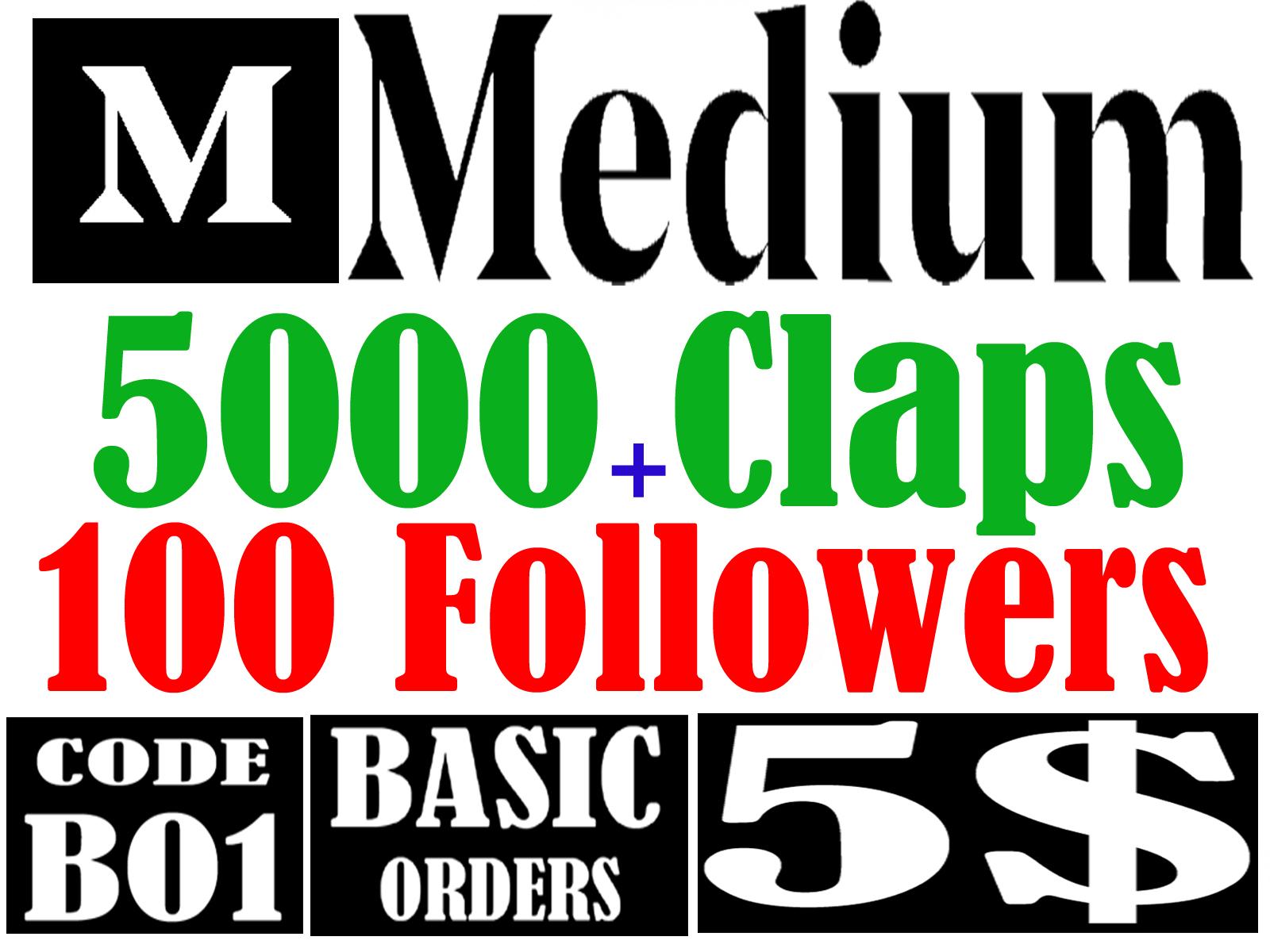 Buy 5,000 Medium Claps & 100 Followers on Your Medium Article