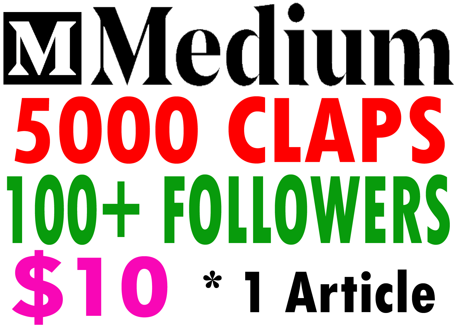Buy 5000 Medium Claps for 1 Article & 100+ Follow...