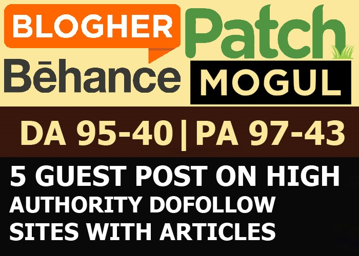 Write & Publish 5 x High Authority DoFollow Blog Guest Post DA 96 TF 81 + Indexing