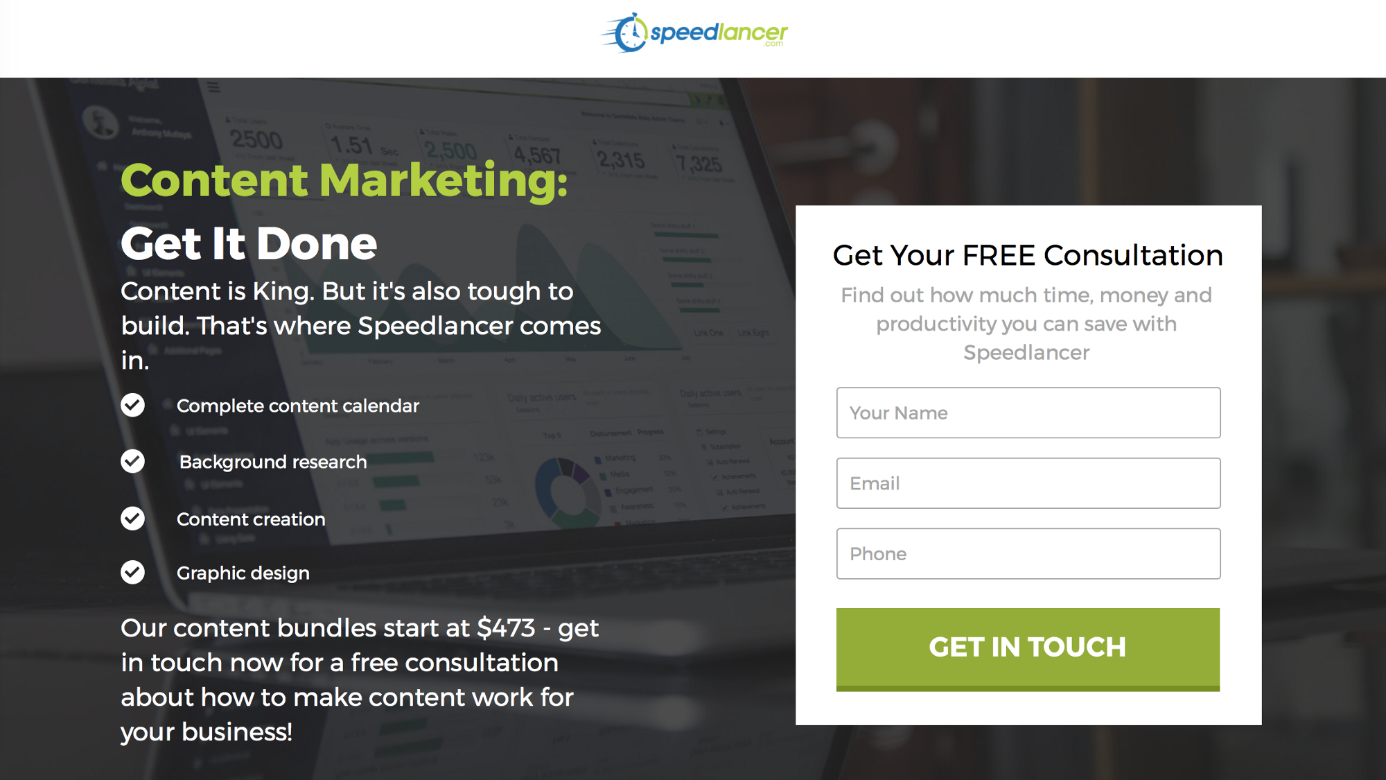 niche-related landing page design on business