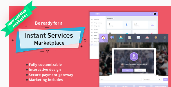 Services Marketplace script - PHP, HTML and with responsive