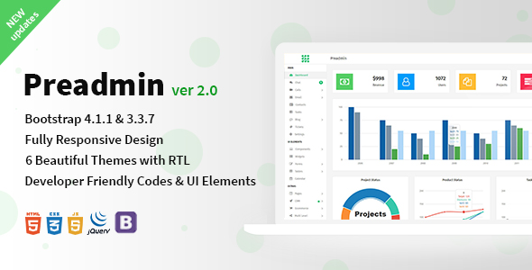 Preadmin - Bootstrap 4 Admin Template