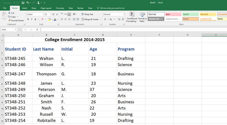 create excel spreadsheet for your data