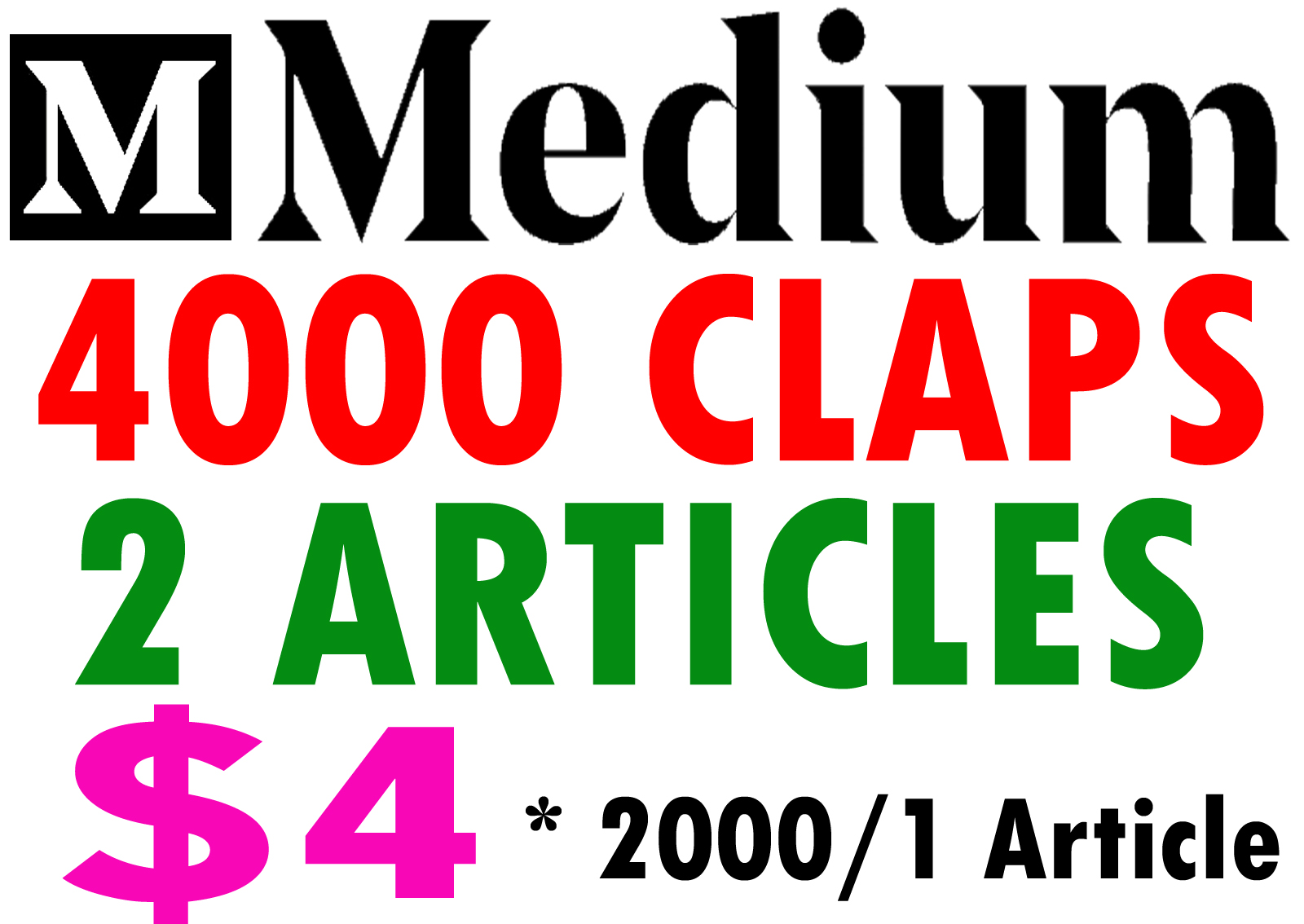 Buy 4000 Medium Claps on 2 Articles 2000Claps/1Articl...