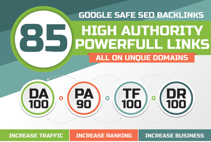 Build 85 Unique Domain SEO Backlinks On Tf100 Da100 Sites