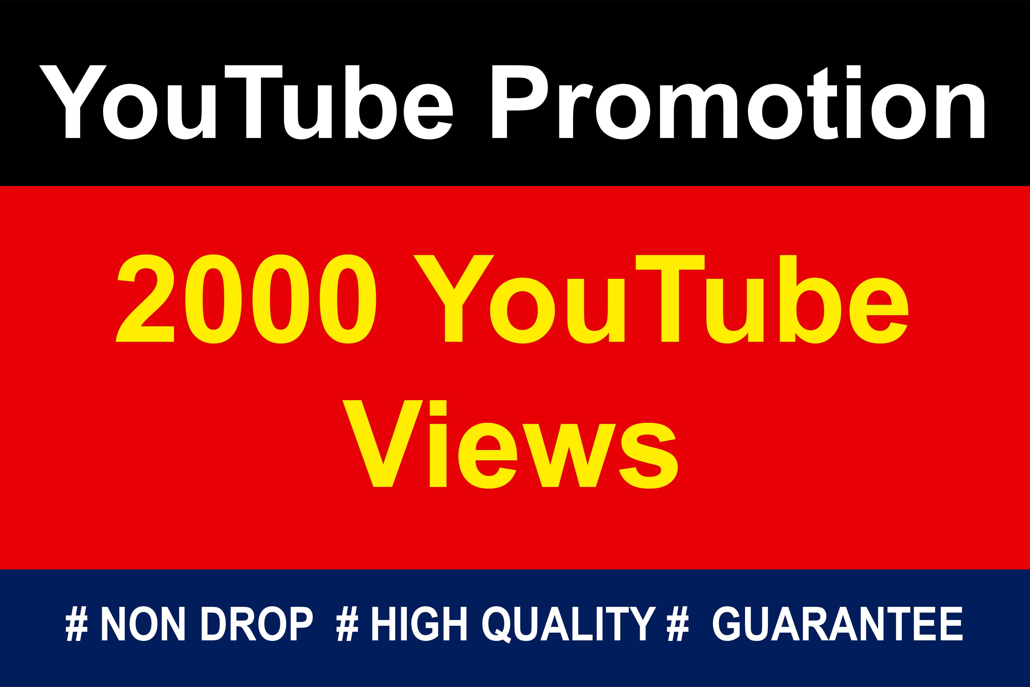 Guaranteed 2000 YouTube HR Video Promotion NON DROP