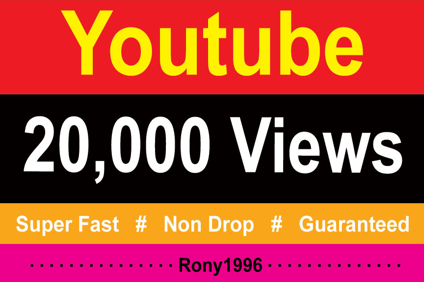 instant 20,000 Youtube Vieews Fully Safe Non Drop