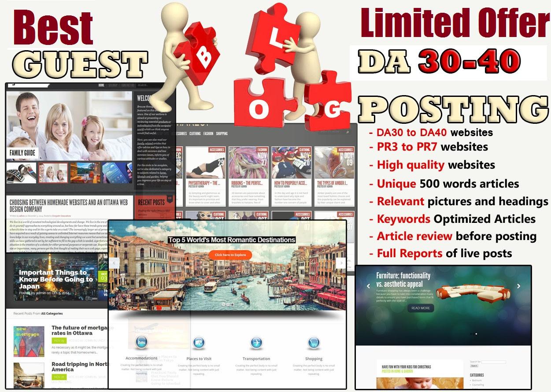 Place 10 unique guest blog posts on DA 20-50 websites