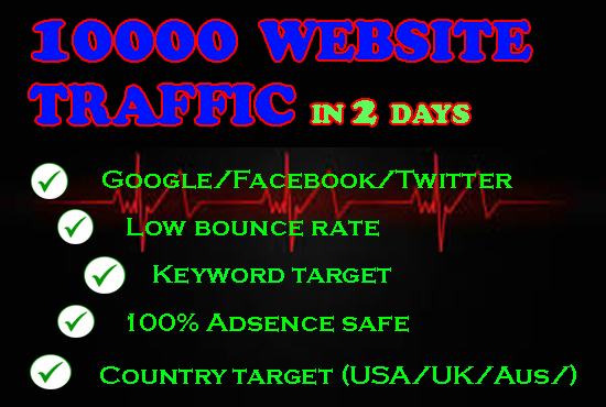 10000 LOW BOUNCE RATE WEBSITE TRAFFIC WITHIN ONE DAY