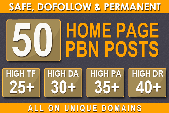 Build 50 HomePage PBN Backlinks All Dofollow Quality Links
