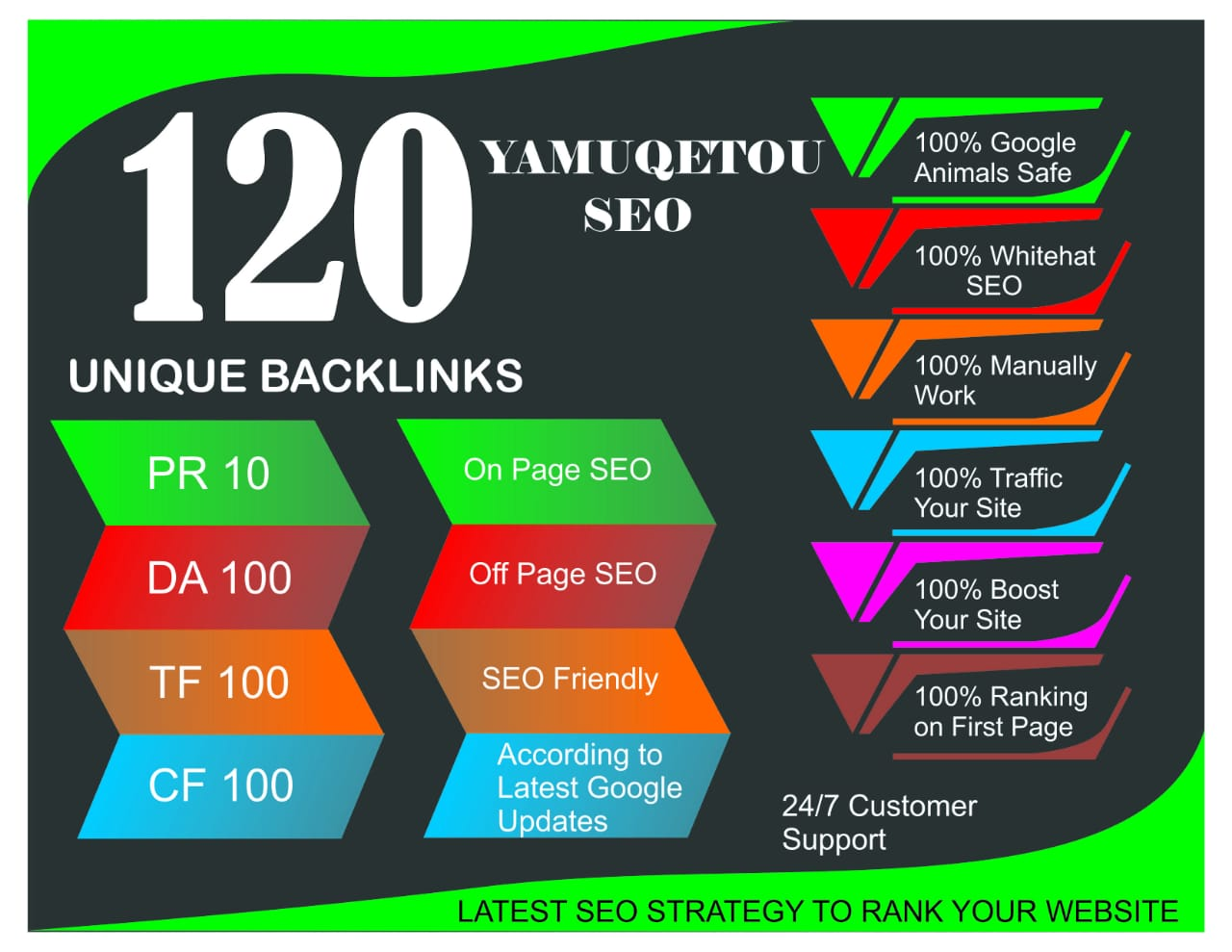 """ I Will "" Build 120 Unique Domain SEO Backlinks On Tf100 Da100 Sites"