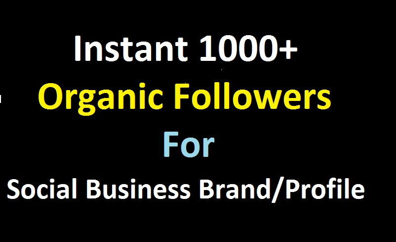Instant 1000+ Organic Followers For Social Business Brands or Profiles