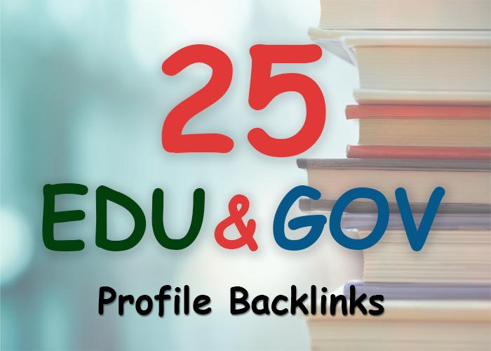 Manually build 25. edu and. gov safe seo friendly bac...