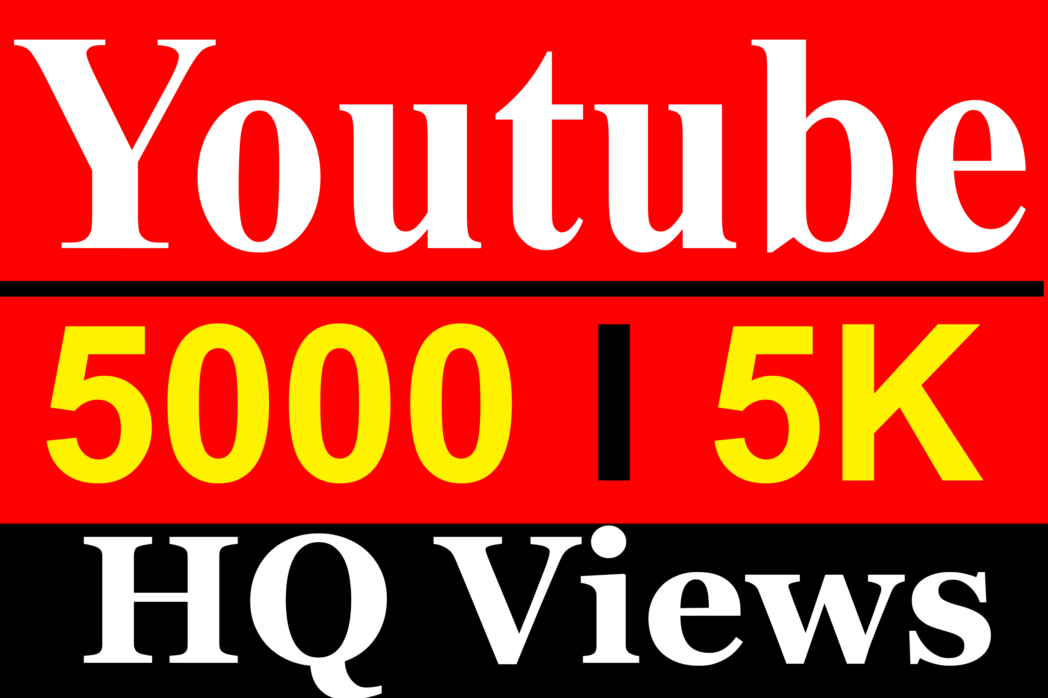 5000 YouTube Vieews High Quality Fully Safe Instant Start