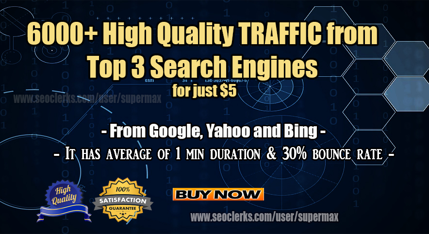 High Quality Web Traffic from Search Engines and Social media Sources