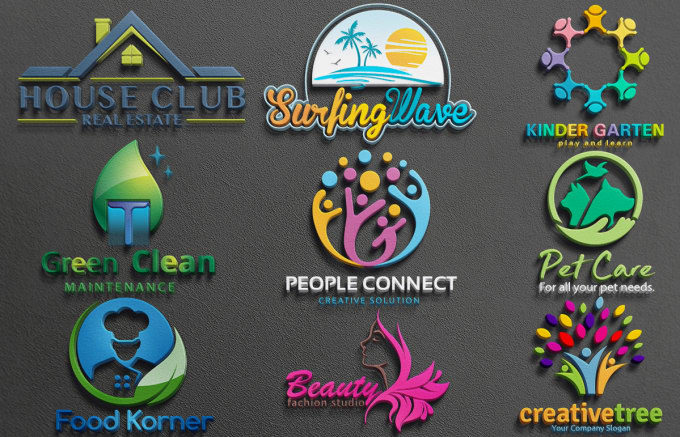 logo Design in 5 Different Looks & Shapes including Minimalist, Flat & 3D logo