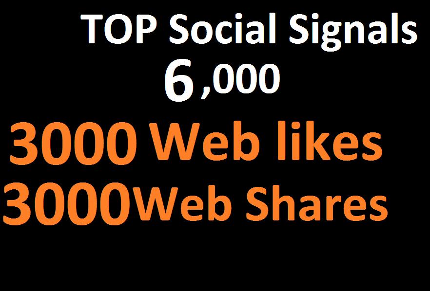 6,000 Social Signals From Top 1 Social Media Websites...