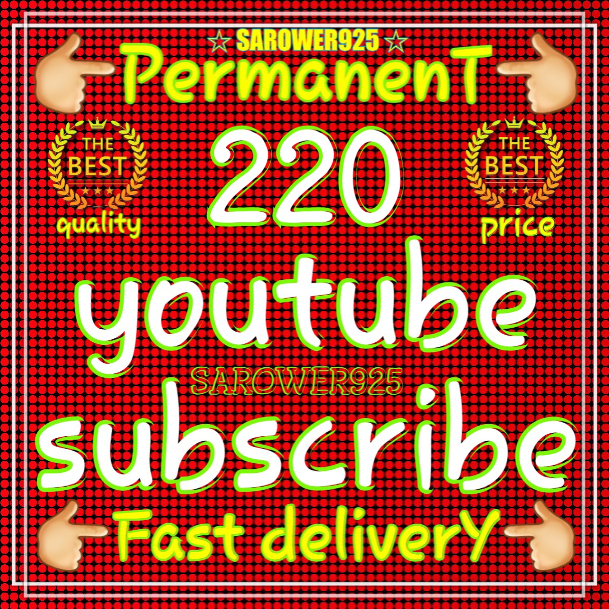 Provide you 220 high quality permanent youtube subscribe very fast