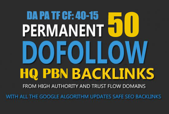 Build 50 High DA PA 40 - 15 Homepage PBN Backlinks Guaranteed Ranking