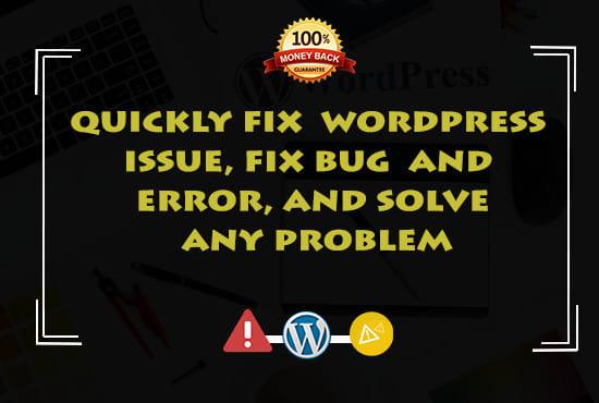I'll fix any kind of WordPress issues and errors