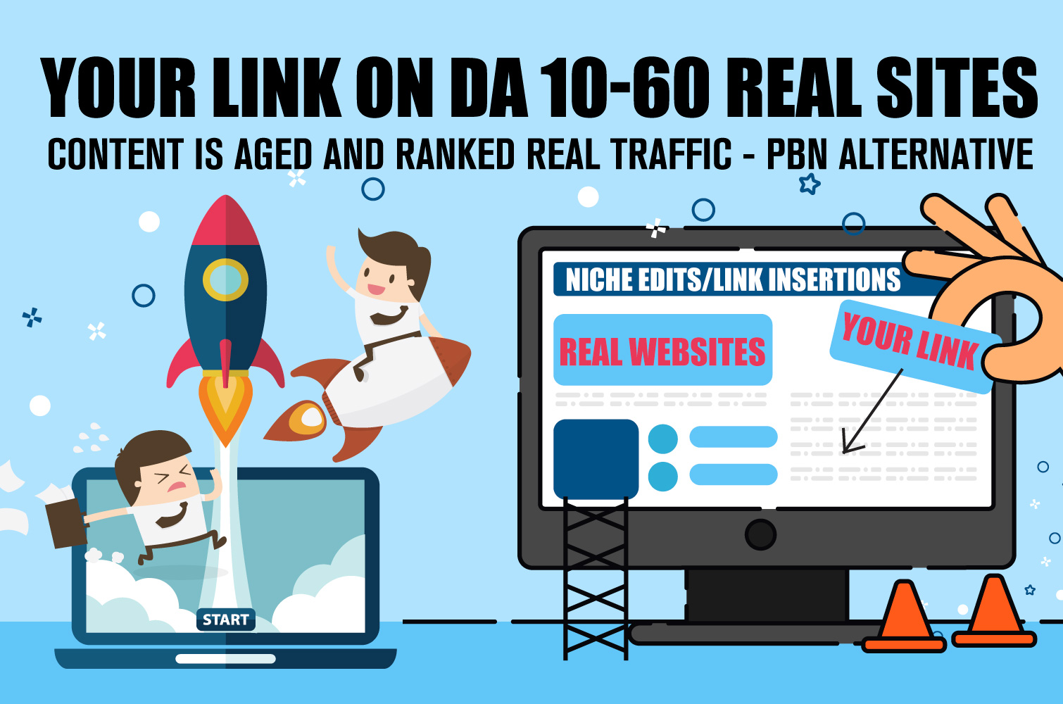 Niche Edit Backlinks - Real Power Real Sites PBN Alternative DA10-60 links