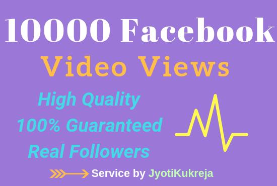 10000 Guranteed Non Drop FB Video Views High Quality