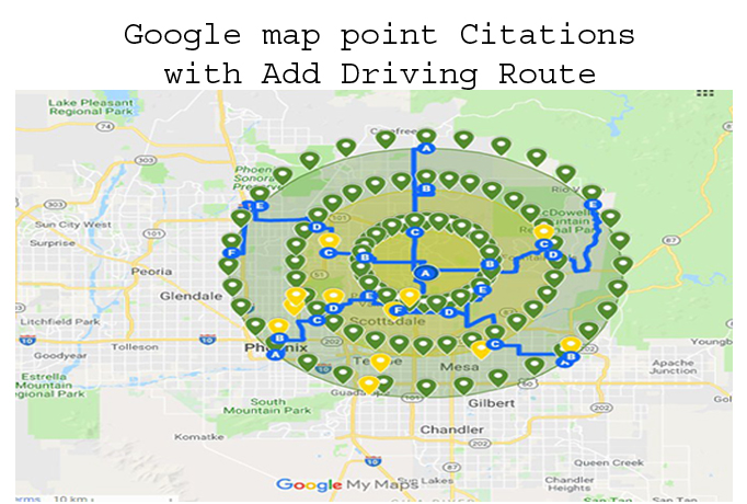 do 50 google maps point citations with add driving ro...