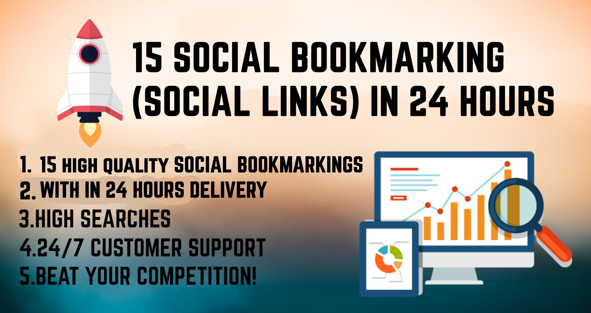 Build 15 soical bookmarkings for you