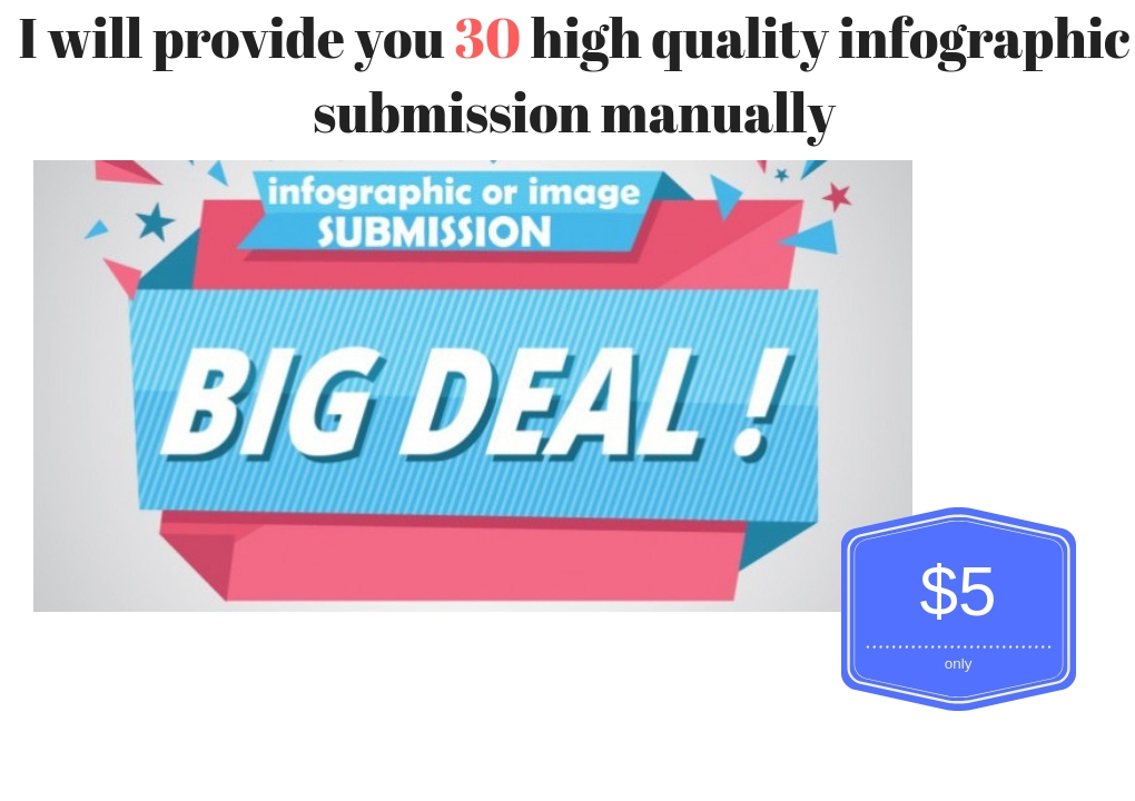 Submit your infographic in 30 high authority website manually