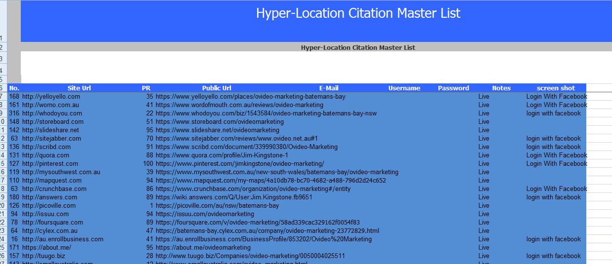 40 Local citation manual listing