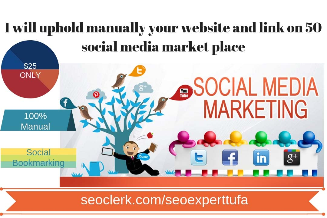 uphold manually your website and link on 50 social media market place