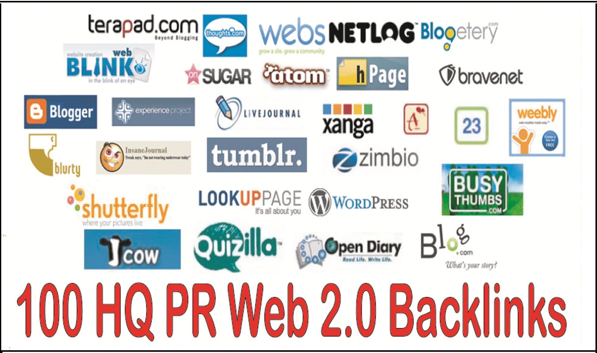 Create 20 Unique Domain Web2.0 Blog High DA, PA