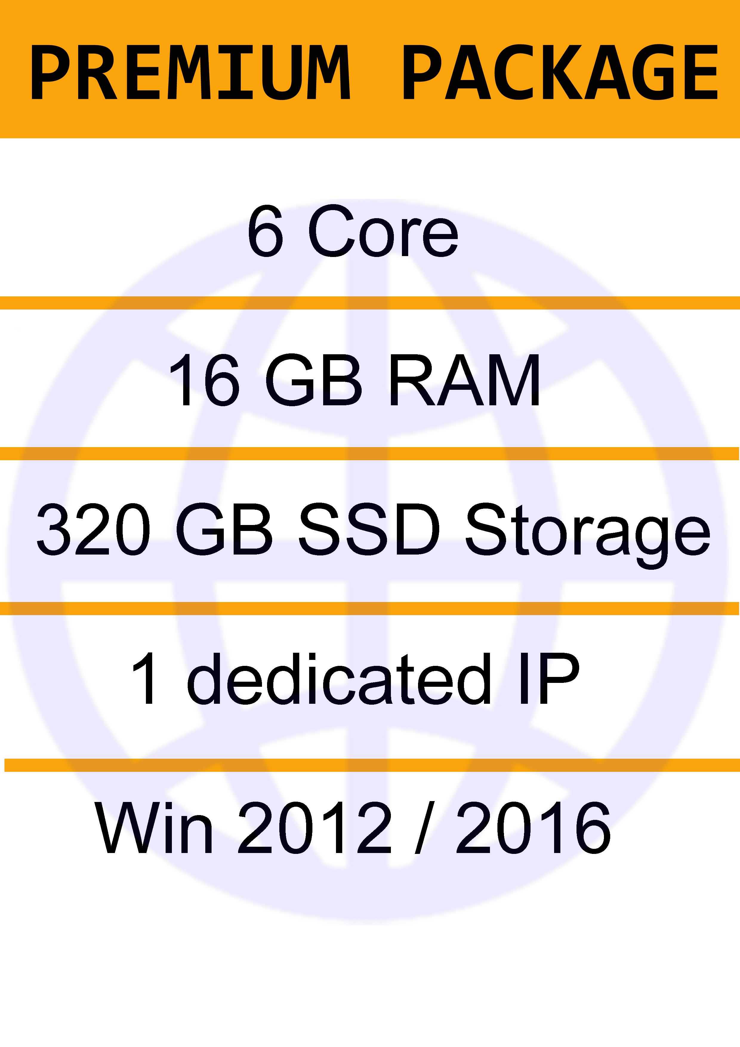 Windows VPS 16 GB - 6 Vcore - 320 GB SSD -