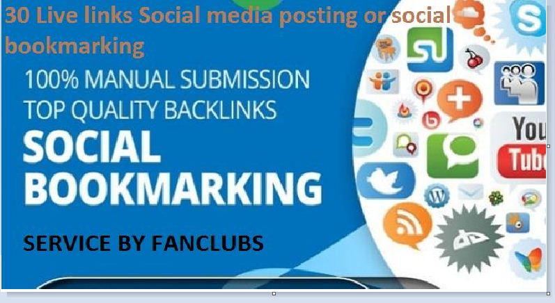 Create 30 instant live Social Bookmarks Link for your sites from uniques domain