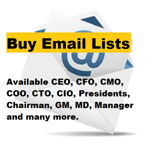 Build 100 Email List CEO,  CFO,  CMO,  Presidents,  Chairman,  GM,  MD,  Manager and many more mailing list