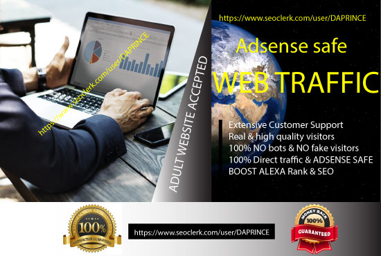 Click Me- Drive targeted 100 Adsense Safe Web traffic...