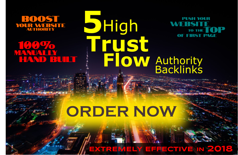 5 High Trust Flow REAL PAGE Authority Backlinks