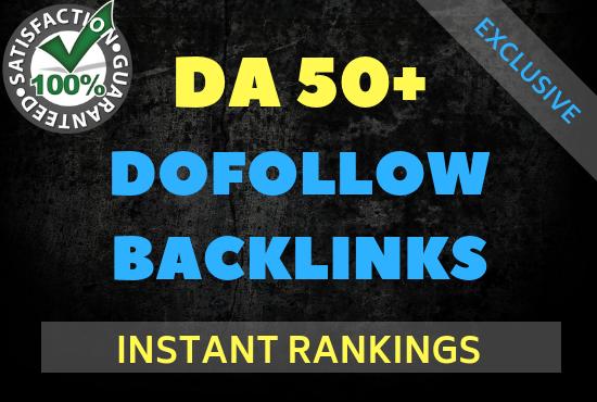 50 Mix Dofollow Backlinks from DA 50+ Websites